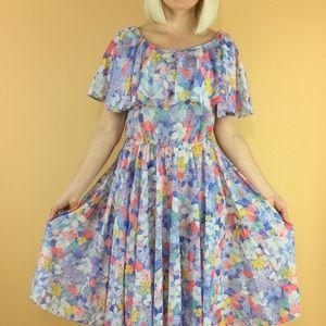 Vintage 70s pastel floral print off shoulder dress